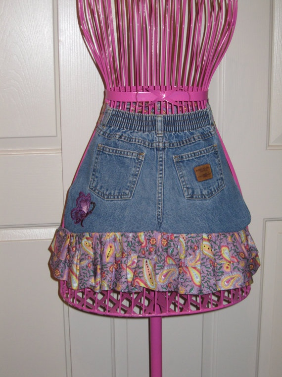 Toddlers Upcycled Denim Apron with Purple butterfly.. WWW.facebook.com/ODark30Designs.com