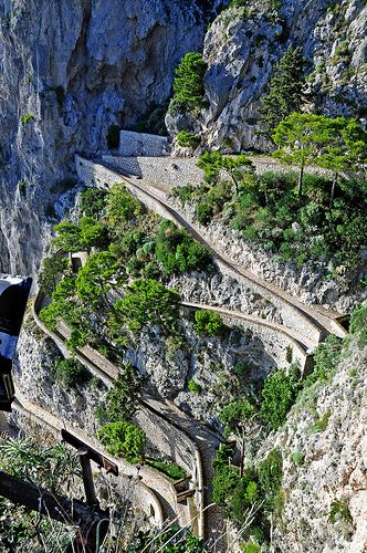 Phoenician Steps, 800 ancient steps connecting Anacapri to the sea, Marina Grande di Capri, Campania, Italy