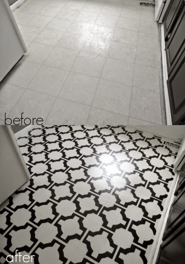 Diy painted vinyl floors before and after project ideas for Diy kitchen floor ideas