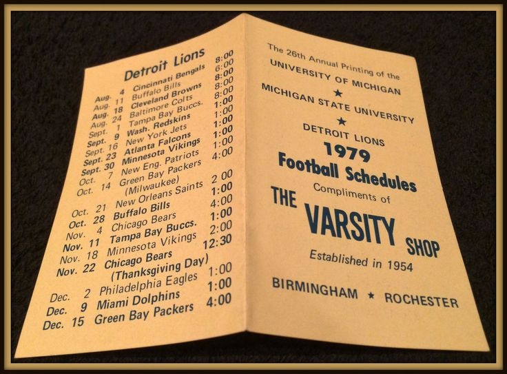 1979 MICHIGAN DETROIT LIONS MICHIGAN STATE FOOTBALL POCKET SCHEDULE FREE SHIP #Pocket #DetroitLions