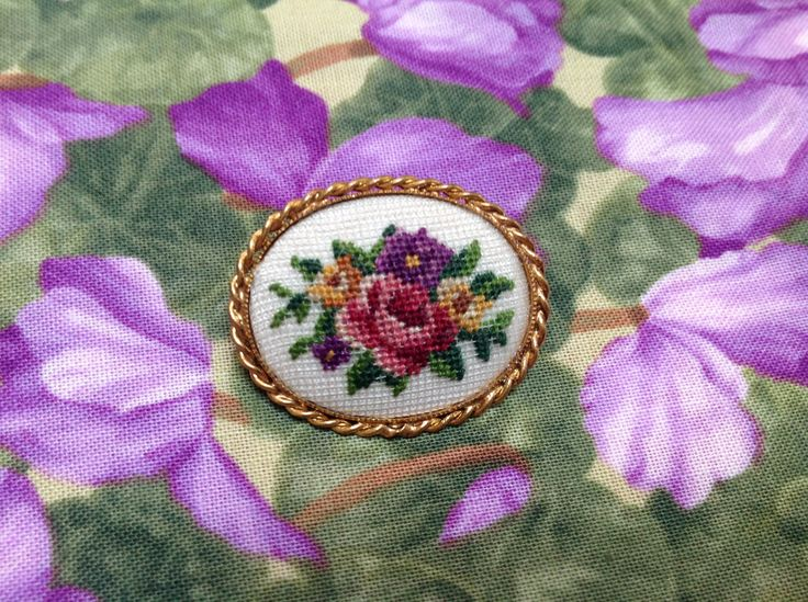 Vintage Petit Point Embroidered Oval Flower Brooch by HMNinnis