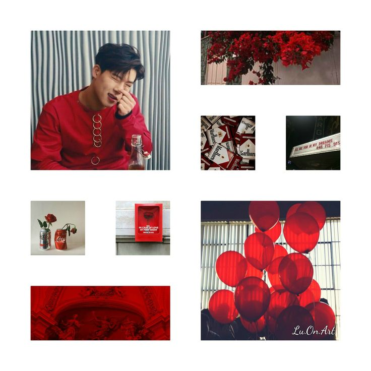 Lu.On.Art - Jooheon Monsta X red collage