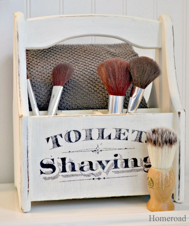 Wooden bathroom accessories upcycle using Americana Decor Chalky Finish paint.