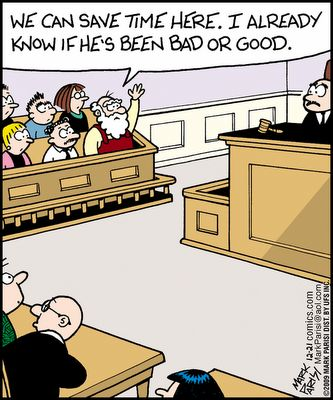 Santa does jury duty like a boss