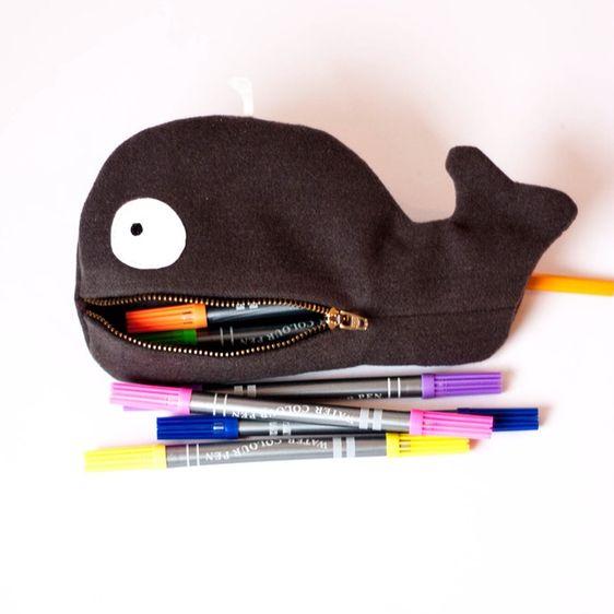Make a Cute Whale Zipper Pouch #diy #whalepouch #backtoschool @Guidecentral
