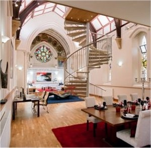 Wow. A repurposed chapel...And, my studio would be up those stairs.