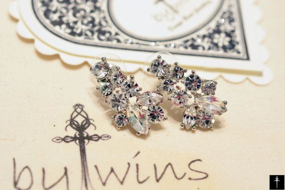 Crystal Bridal Jewelry Dangle Bridal Earrings Style by BYTWINS