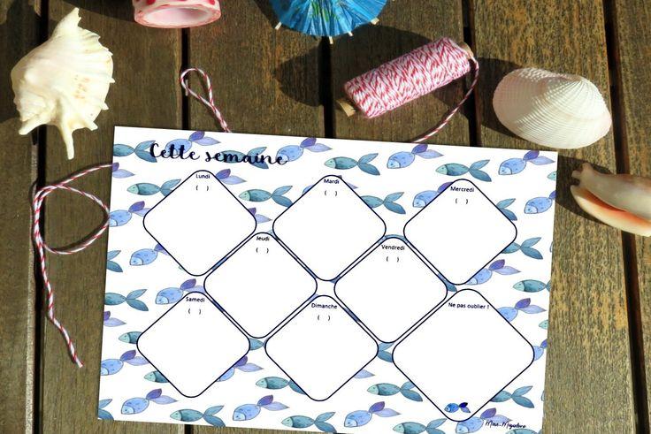 Planning semaine Poisson bleu- Planning- Planning marin- Semainier- Planning pratique- Planning pour la semaine- Planifier- Noter ses RDV- de la boutique MarieMagueloneShop sur Etsy