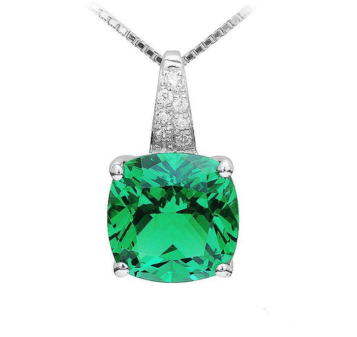 Square Cut Nano Russian Emerald Pendant In .925 Solid Sterling Silver