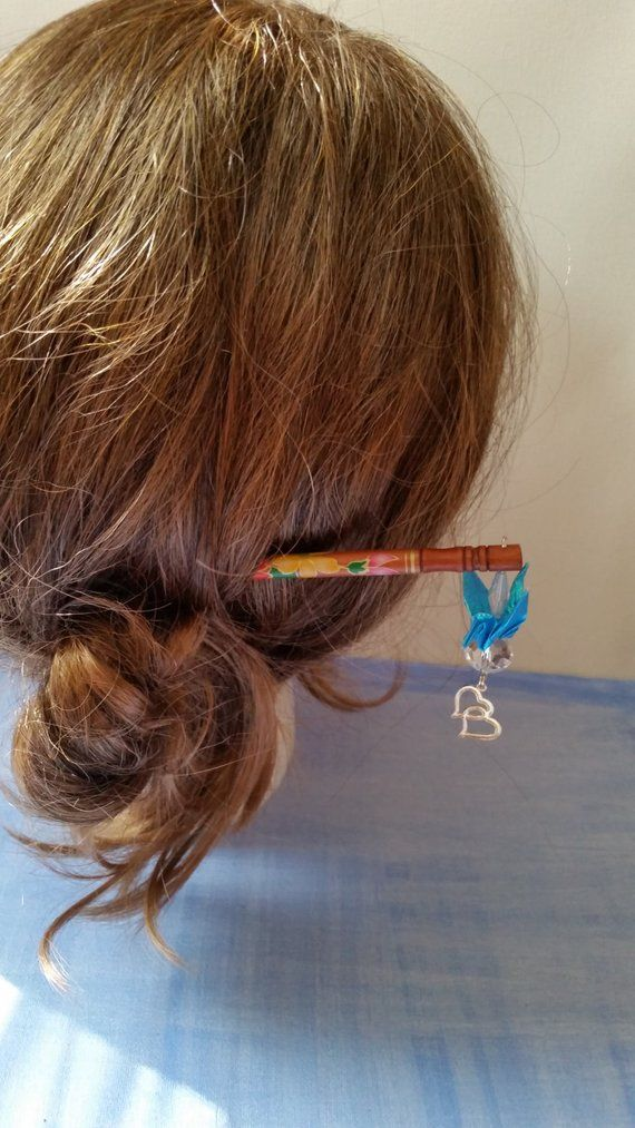 Handmade Hair Style Chopstick With Origami Crain And Hearts By Etsy Hair Styles Chopstick Hair Hair