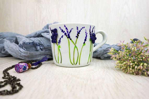 Lavender Cup Purple Flowers Mug Purple Tea Mug by doodleNart