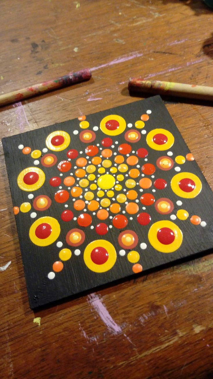 Mandala Yellow and Red by Nina Italy - My personal mandala with acrylic colors