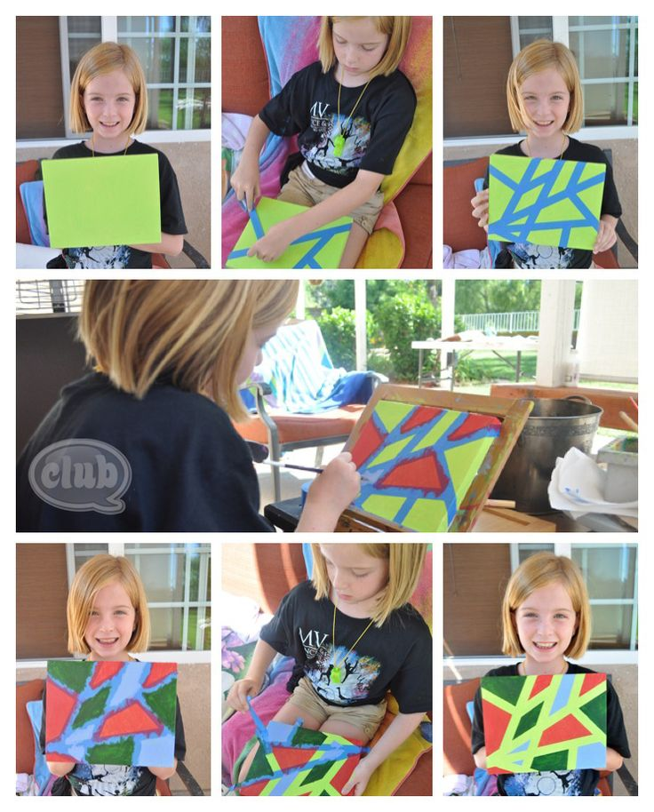Create your own modern art using painters tape (step by step guide): Painters Tape, Modern Art, Tween Craft, Art Painters, Craft Ideas, Chica Circle, Adult Craft