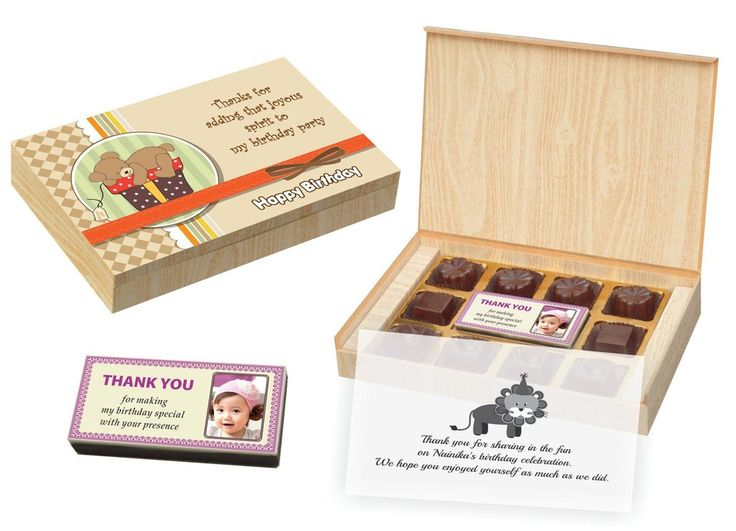 Birthday Return Gifts - 12 Chocolate Box With Printed Bar -  (10 Boxes)