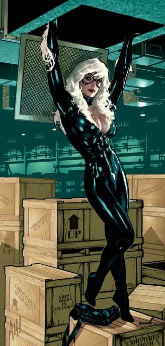 Black Cat by Adam Hughes, another of my favorite comic artists.He does nice 'good girl' art. #adamhughes #comicart #blackcat