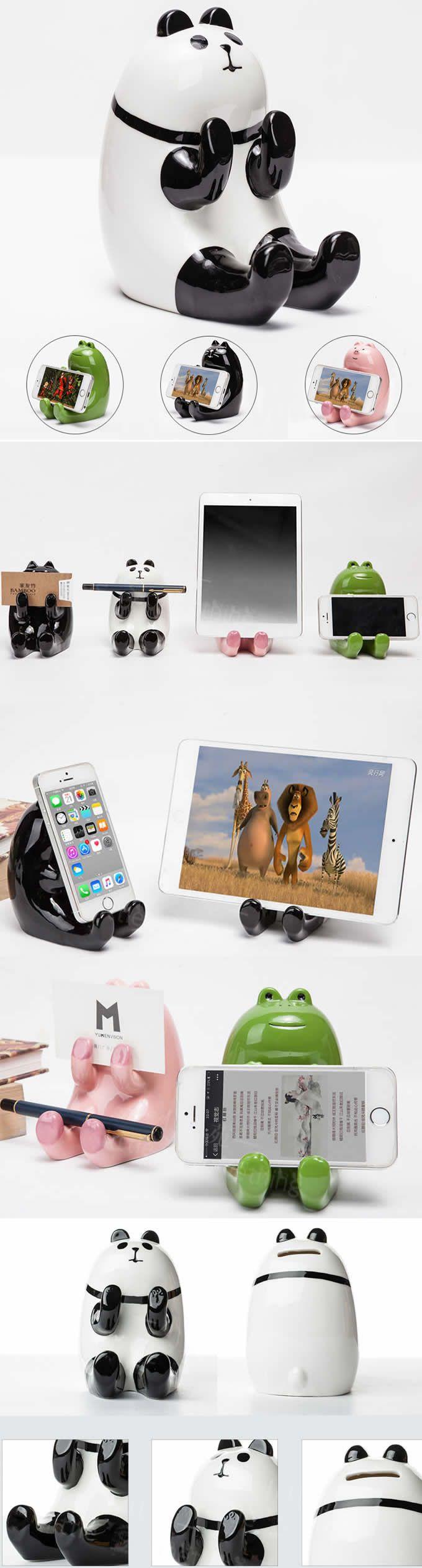 Ceramic Panda Piggy Bank Cell Phone Stand Holder