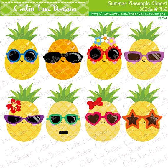Pineapple Clipart, Cute Pineapple Clip Art , Sunglasses clipart , Summer Clipart, Tropical clipart