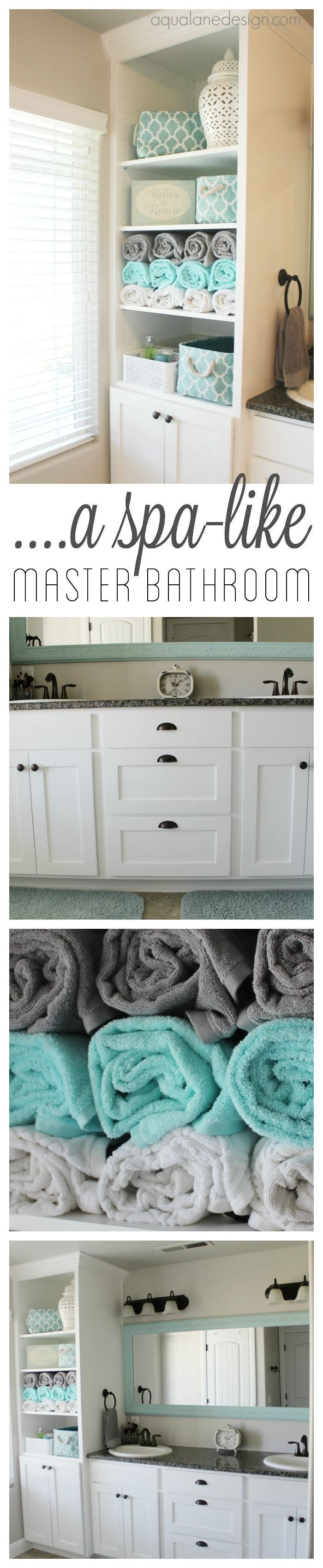 A spa like master bathroom | open linen closet | aqua and gray bathroom
