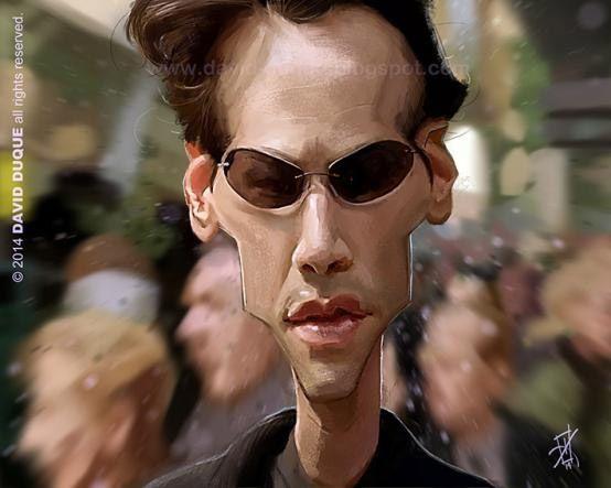 Caricatura de Keanu Reeves en Matrix.