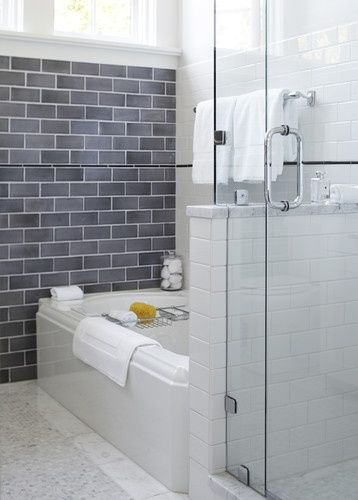 Urrutia Design traditional bathroom - dark grey subway tilesBathroom Design, Tile Design, Small Bathroom, Shower Doors, Bathroom Ideas, White Subway Tile, Traditional Bathroom, Master Bath, Subway Tiles