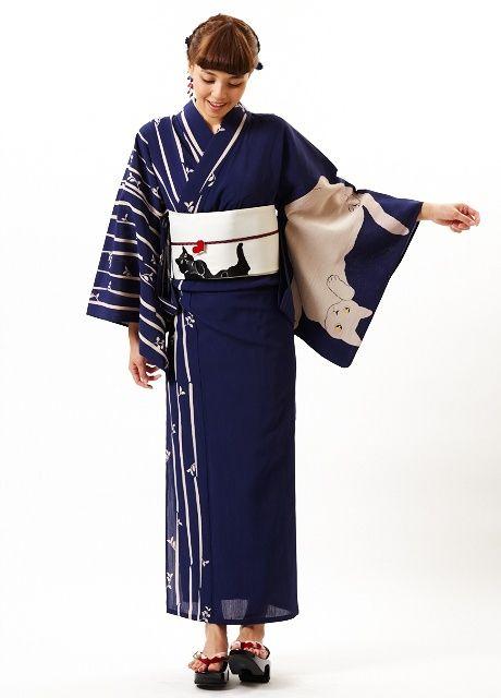 thekimonogallery: Kitty-themed yukata. Japan