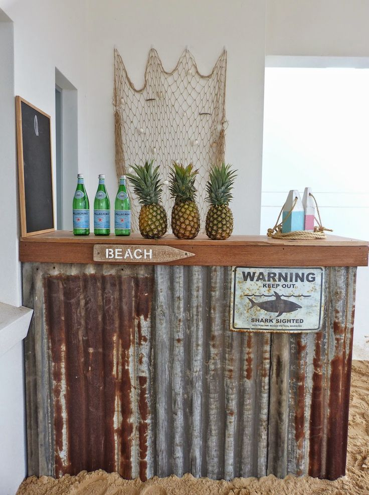 beachcomber: beach party My outdoor bar is looking weathered..I could totally…