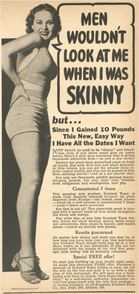 Ad about being attractive by gaining weight. How times have changed.