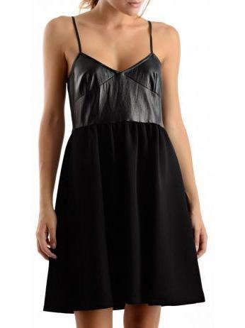 Atos Lombardini - Empire flared dress in black