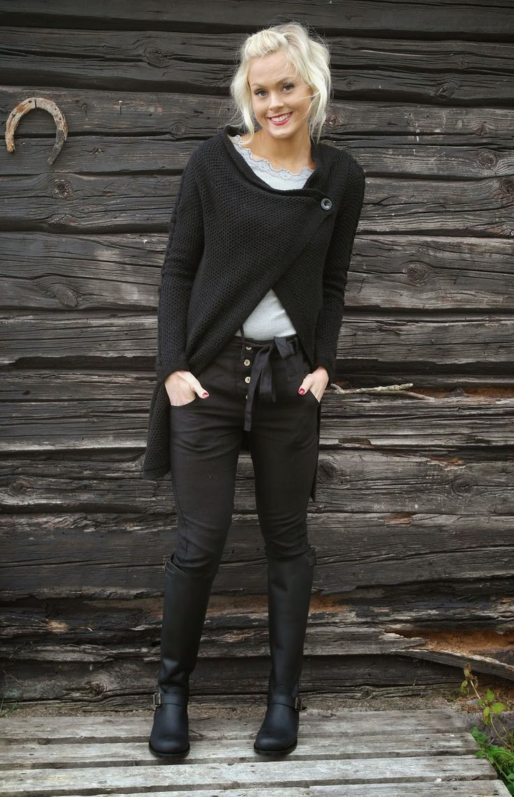 *Black long sweater cardigan, tee, black jeans and boots