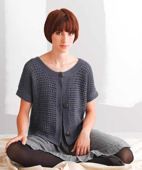 Short-Sleeve Sweater With Ajour Pattern
