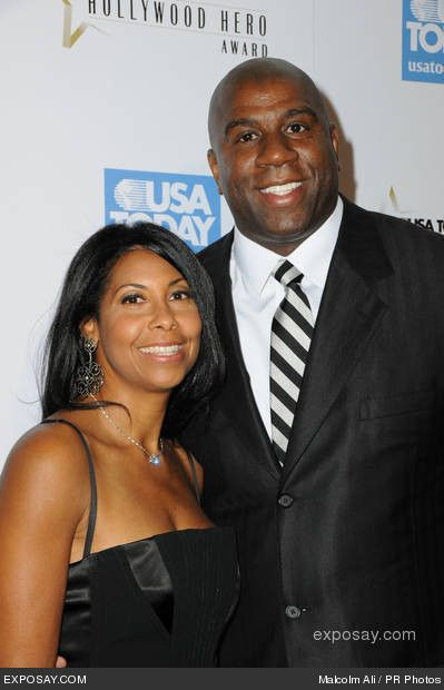 """Earvin """"Magic """" Johnson and wife Cookie Johnson  ....i lived thru those times with you, my Hero's both; keep on keepin' on..."""