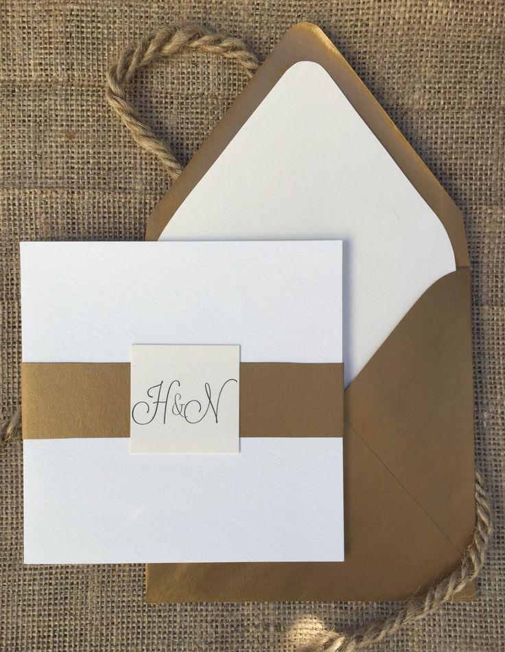 Modern Gold u0026 White Wedding Invitation Simple