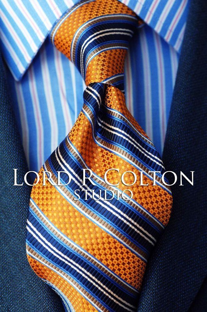 Lord R Colton Studio Tie - Orange & Navy Woven Stripe Necktie - $95 Retail New #LordRColton #NeckTie