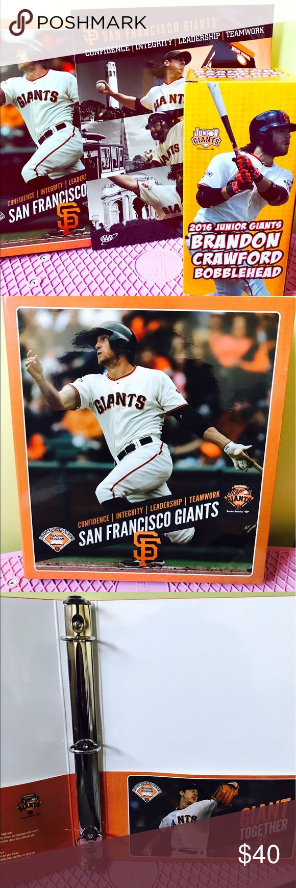 SAN FRANCISCO GIANTS bobble head, folder, & binder 2016 San Francisco giants Brandon Crawford bobblehead, with matching 3 ring binder and folder. One of a kind, can't find these in many stores. SF GIANTS bobblehead range from $59.99 not including tax or any other perk. It's a great deal. Make me an offer! San Francisco Giants Other