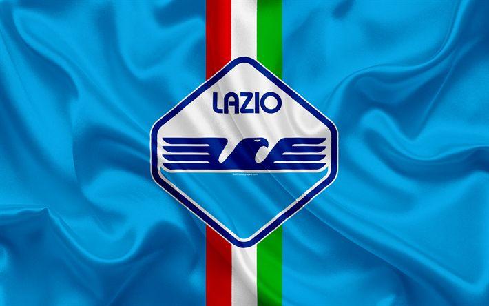 Download wallpapers new Lazio logo, football club, Lazio, Italy, 4k, Serie A, Italian flag, football, new emblem