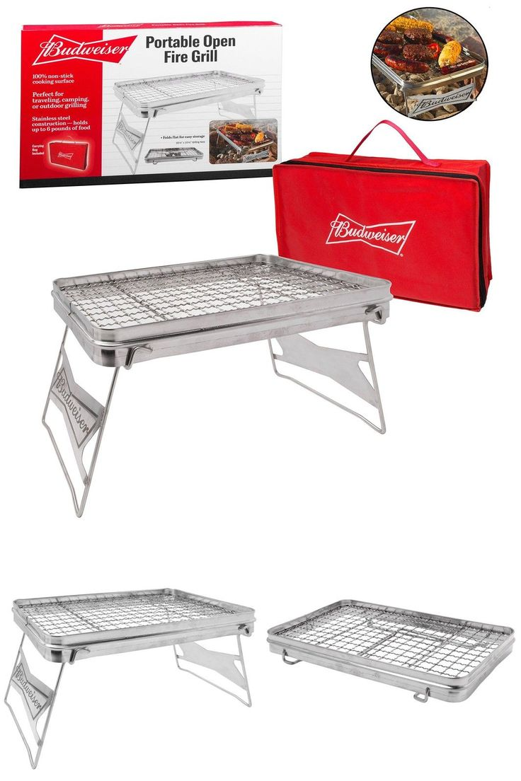 Pop open the grill and place it over the coals or fire when you're ready to cook. The grilling surface measures 16.5 inches by 10.5 inches and holds up to 6 pounds of food. It folds down into a convenient carry bag and is easy to store. #Camp #Fire #Grill #Outdoor #Camping #Cooking #Equipment