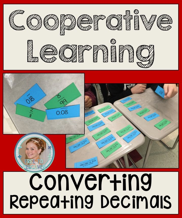 In this cooperative matching game, students will practice converting between repeating decimals and fractions. There are some non-repeating pairs mixed in to ensure students can distinguish between fractions that correspond with terminating decimals versus repeating decimals. Included: -24 matching cards -Follow-up worksheet -Answer Keys -Teacher's Guide with CCSS, objectives, materials, and procedure