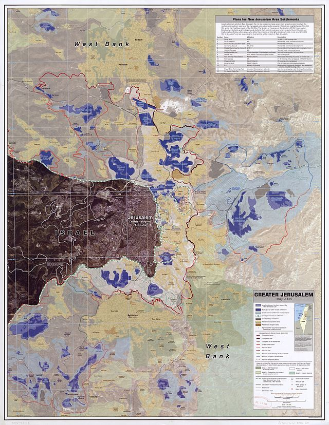 Greater Jerusalem, May 2006. CIA remote sensing map showing areas considered settlements, plus refugee camps, fences, walls, etc. ◆West Bank - Wikipedia http://en.wikipedia.org/wiki/West_Bank #West_Bank