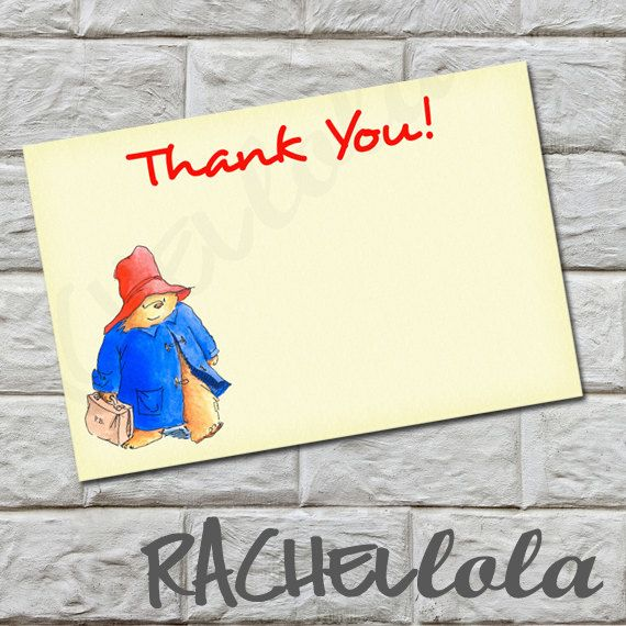 INSTANT DOWNLOAD- Paddington Bear birthday thank you note or baby shower Thank you note, diy, printable