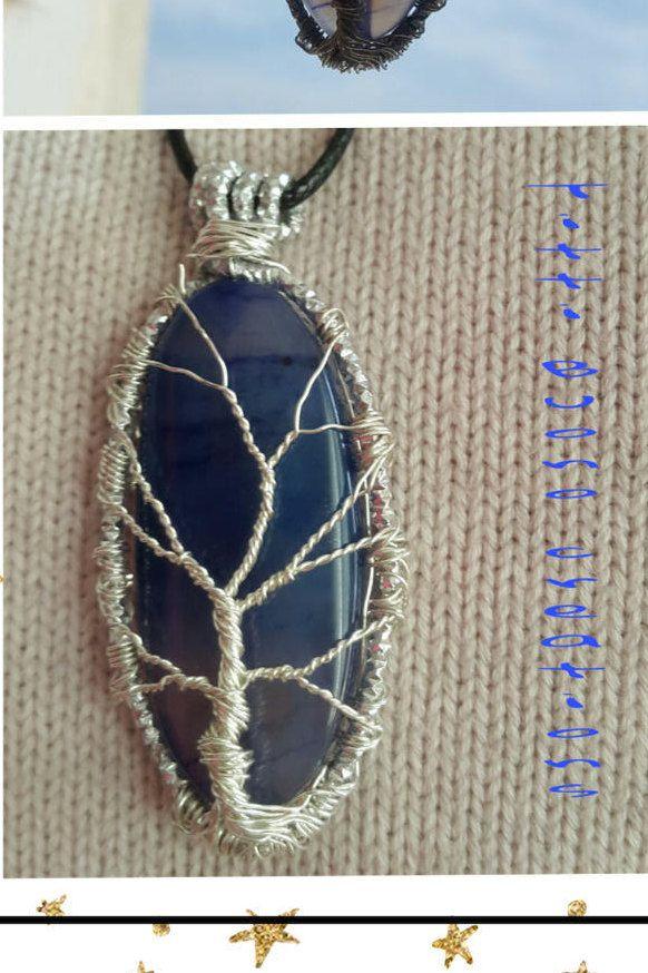 Albero della vita con pietra blu trasparente di TittiBuonocreations su Etsy