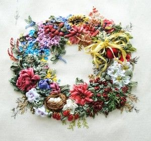 ...Silk Ribbons Embroidery, Embroidery, Ribbonwork Emboidery3, Dicraft Co Embroidery, Gorgeous Wreaths, Silk Ribbon Embroidery, Dicraftco Embroidery, Flower Wreaths, Ribbons Work
