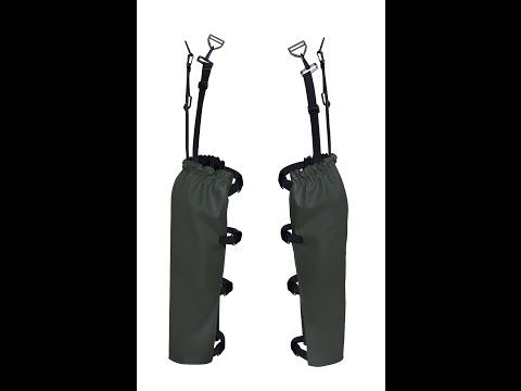 NOGAWICE Model: 508 The protective legs need to be attached to belt with special fastening and knee-pads are included.  The product has been been made on waterproof strong fabric Plavitex Heavy Duty. It's a good protection against water during garden works and fruits and vegetables harvest. High frequency welding makes seams stronger.