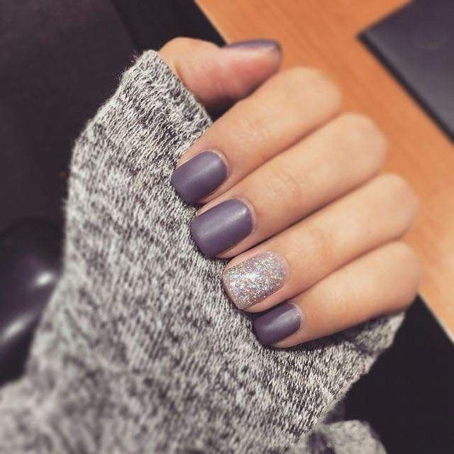 Purple Matte Nails with Glitter (scheduled via http://www.tailwindapp.com?utm_source=pinterest&utm_medium=twpin)