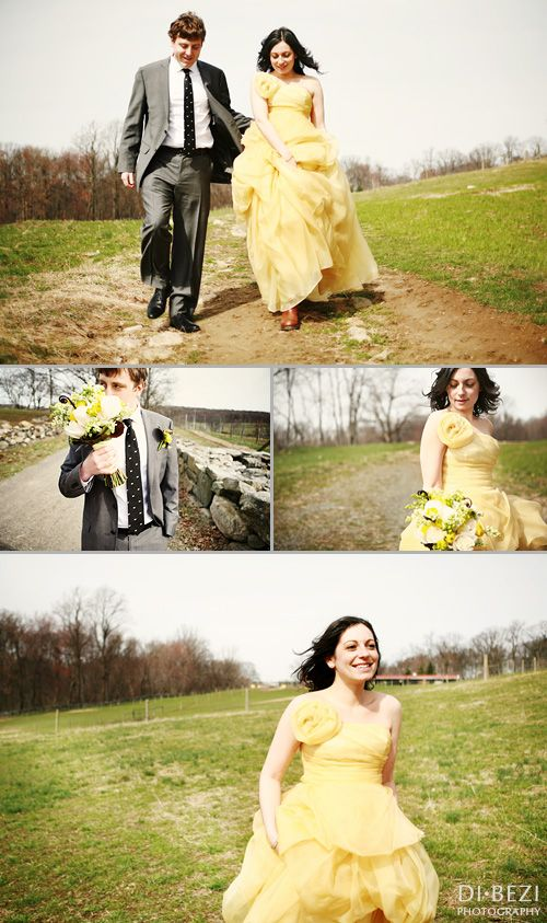 Real wedding: Katie &  Michael wearing a custard yellow wedding dress.