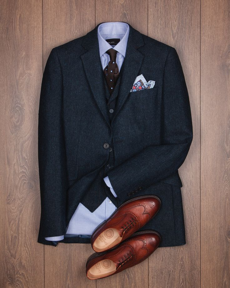 #ootd #flatlay was chosen by Alex, our Covent Garden manager. A smart and modern look featuring the Martin suit in navy herringbone with silk details and a cracking pair of handmade Cheaney shoes.