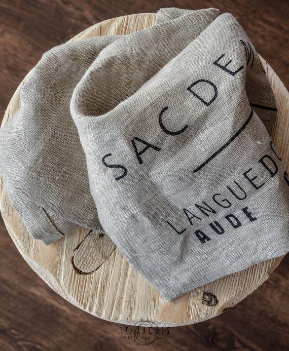 handmade linen tea towels, set of 2 pcs, dish towel, flax, pre washed, natural, grain sac, place mat,