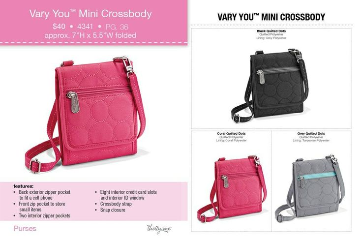 Spring into warm weather with our hands-free style, Vary You Mini Crossbody. One of my favorites! $40 #purse #wallet #crossbody www.mythirtyone.com/myshop