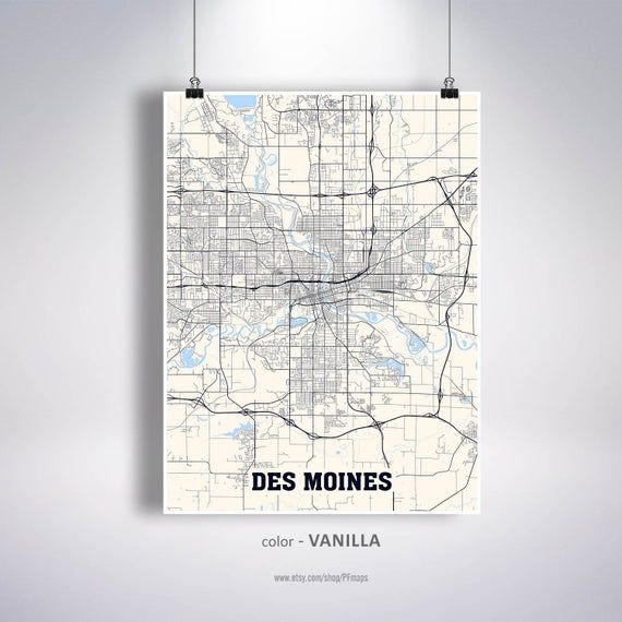 Des Moines Map Print Des Moines City Map Iowa Ia Usa Map Poster