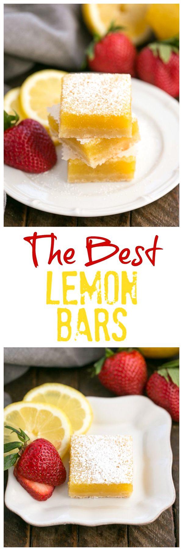 The Best Lemon Bars Recipe   A sublime citrus treat with a shortbread crust @lizzydo