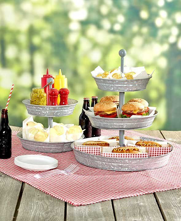 "Set out appetizers, desserts and more at your next get-together with a Galvanized Serving Tray. The 2-Tier Serving Tray (11-7/8"" dia. x 12-1/4""H) and 3-Tier Ser"